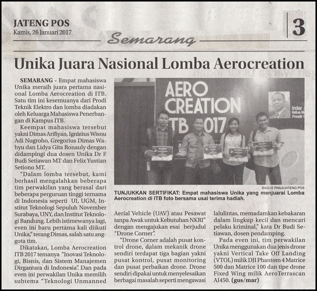 JTP 26_01_2016 Unika Juara Nasional Lomba Aerocreation