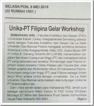 KR 8_05_2018 Unika-PT Filipina Gelar Workshop