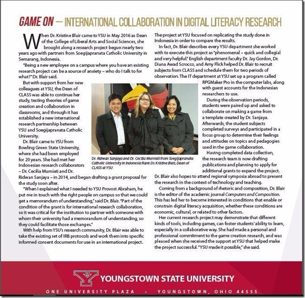 New Frontiers Edisi Spring 2017 dari Youngstown State University