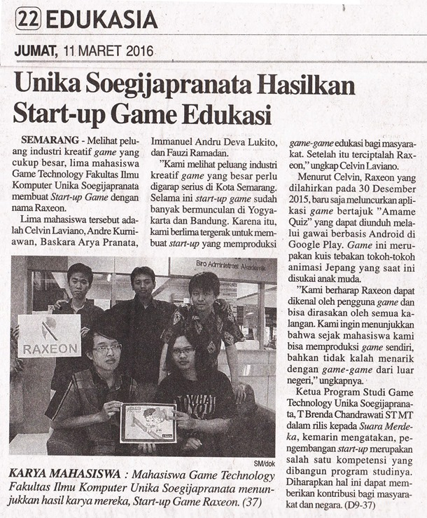 SM 11_03_2016 Unika Soegijapranata Hasilkan Start-up Game Edukasi