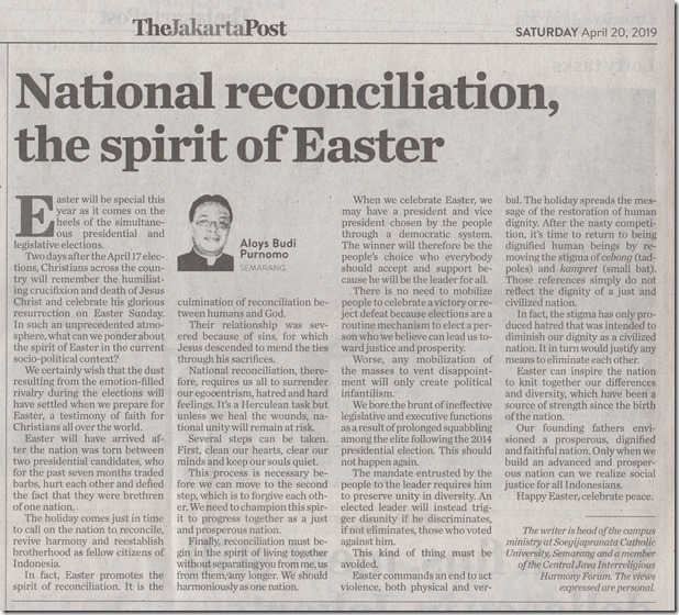 TheJakartaPost 20_04_2019 National reconciliation, the spirit of Easter
